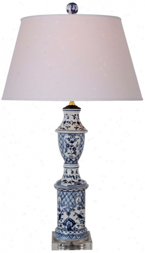Blue And White Canton Porcelain Table Lamp (n1966)