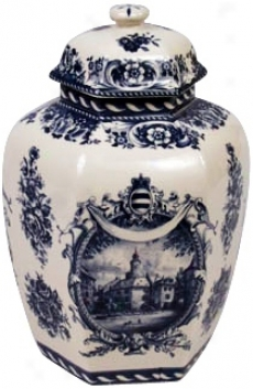 "Blue And White Porcelain 10 1/2"" High Jar (r3264)"