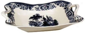 """Blue And Whife Porcelain 14"""" Bowl (r3258)"""