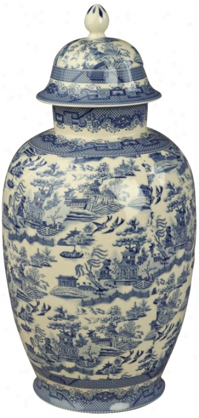 Blue And White Porcelain 16&quit; High Jar (r3277)