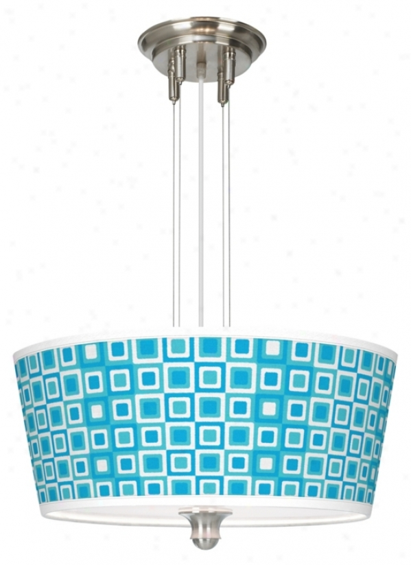 "Blue Boxes Linen Giclee 18"" Wide Pendant Chandelier (m2296-u1616)"