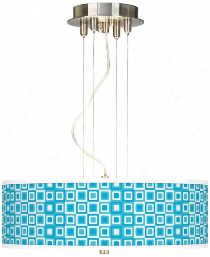 Blue Boxes Cloth of flax Giclee 3-light Pendant Chandelier (17822-u1599)