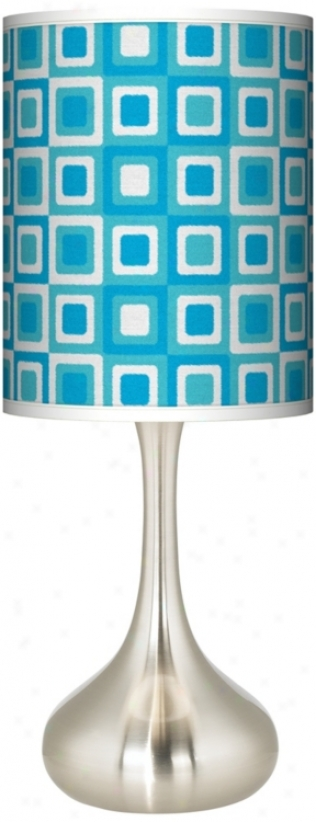 Blue Boxes Linen Giclee Kiss Table Lamp (k3334-u0897)