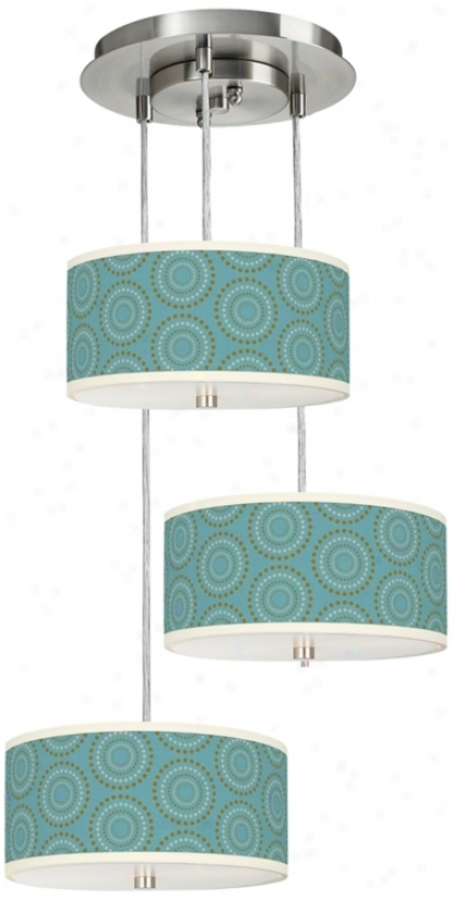 Blue Calliope Linen 3 In 1 Drum Shade Giclee Pendant