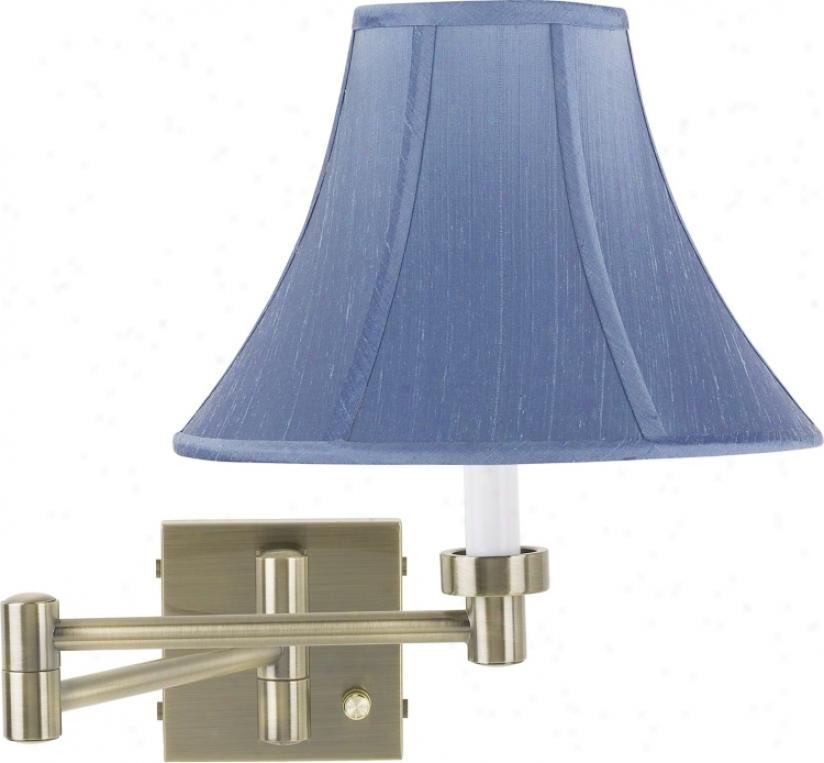 Azure Dupioni Silk Shade Swing Arm Plug-in Wall Lamp (37857-20786)