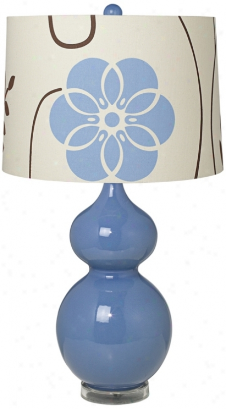 Blue Floral Shade Twice Gojd Slate Blue Ceramic Table Lamp (t5903-t6528)