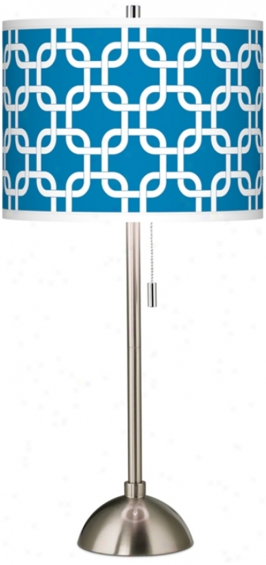 Blue Lattice Giclee Brushed Steel Table Lamp (60757-w3510)