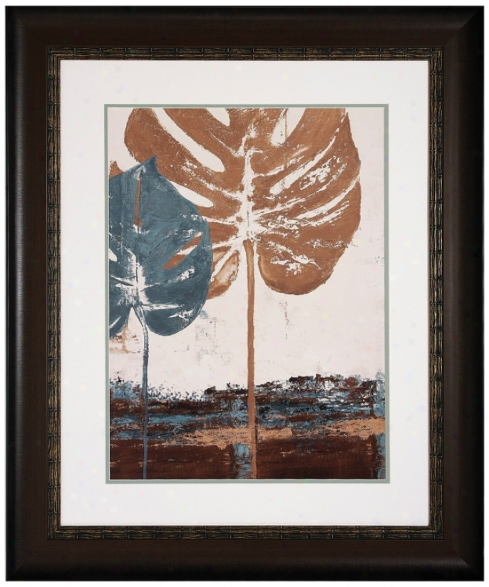 "Blue Leaves Ii 36"" High Framed Leaf Wall Art Print (v6956)"
