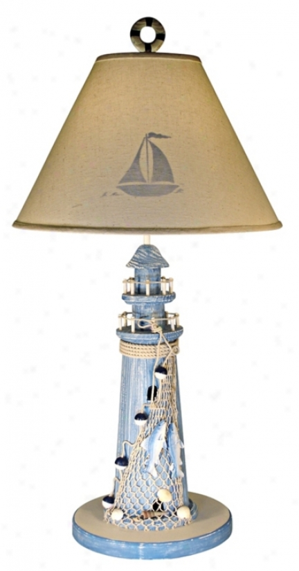 Dismal Lighthouse Stenciled Shade Nautical Table Lamp (39734)