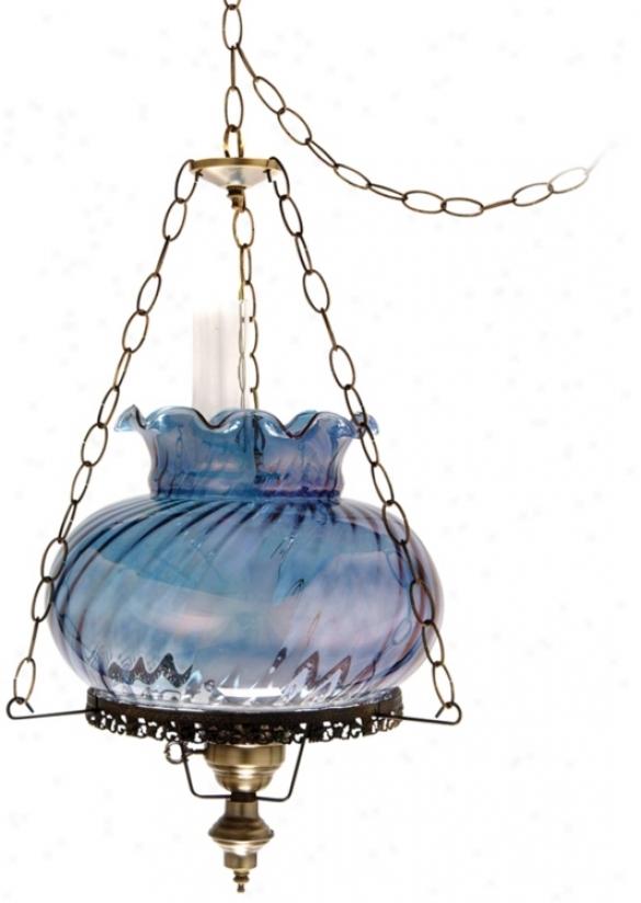 "Blue Swirl Tamoshanta 17"" Wide Plug-in Style Swag Chandelier (j7881)"