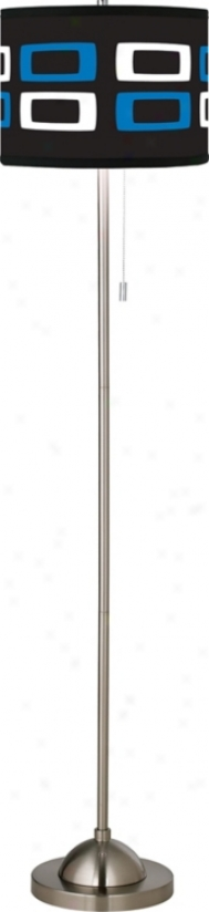 Blue - White Rectangles Giclee Floor Lamp (99185-83887)