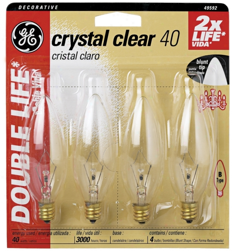 Blunt𔂿tip 40 Watt Candelabra Base 4–pack Light Bulbs (34774)