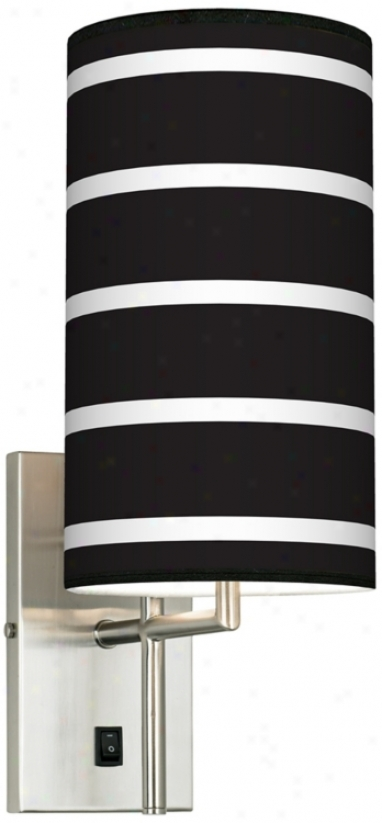 Bold Black Stripe Flag Giclee Plug-in Sconce (k0515-k4547)