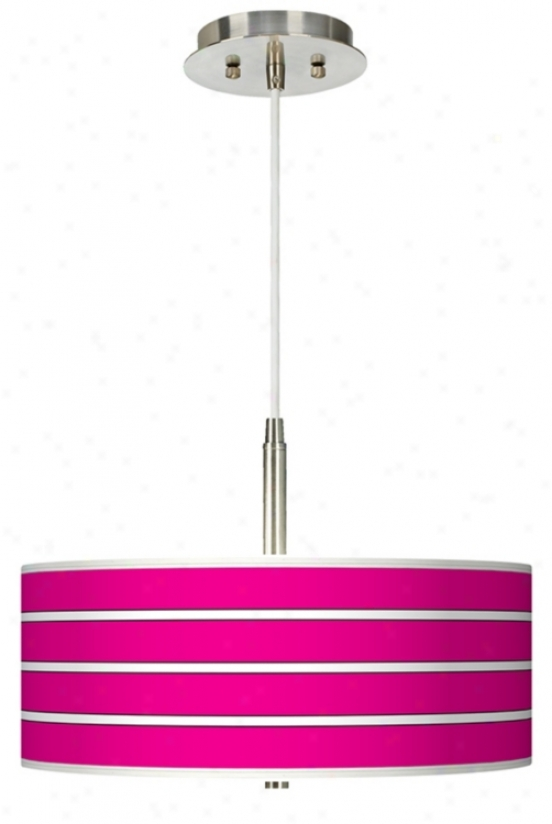 Bold Pink Stripe Giclee Pendant Chandelier (g9447-h1103)