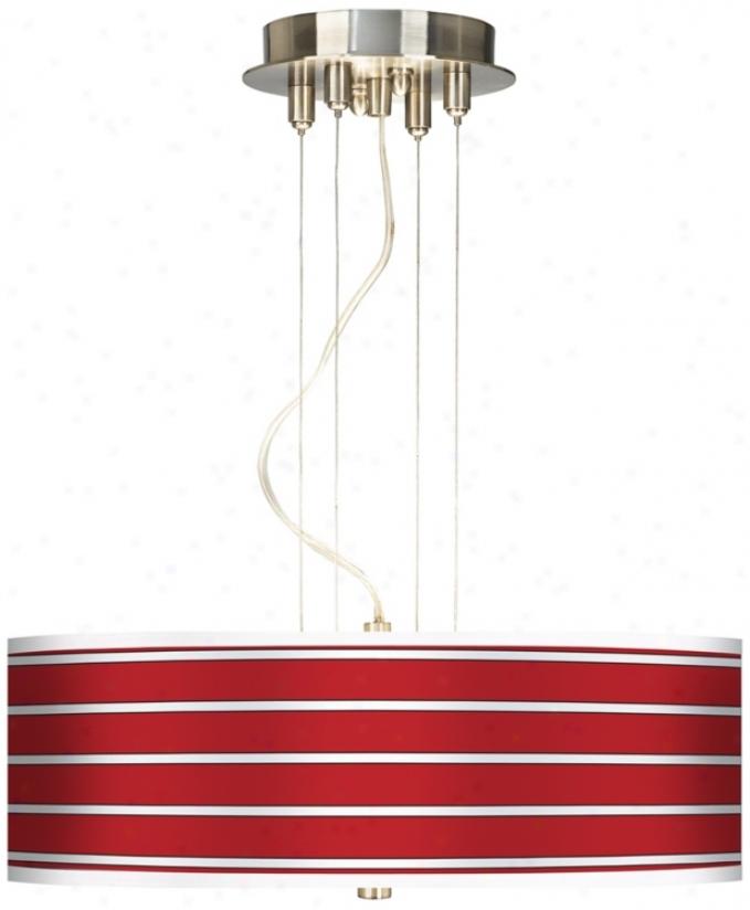 "Bold Red Stripes 20"" Wide 3-light Chandelier Chandelier (17822-j0173)"
