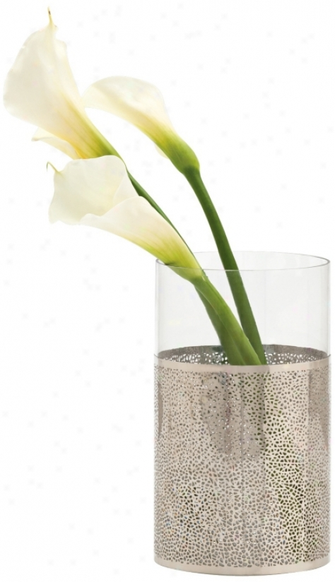 "Bombay 10"" High Poilshed Nickel Finish And Glass Vase (r8605)"