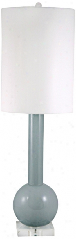 Bottle Neck Gray Glass Table Lamp (v2566)