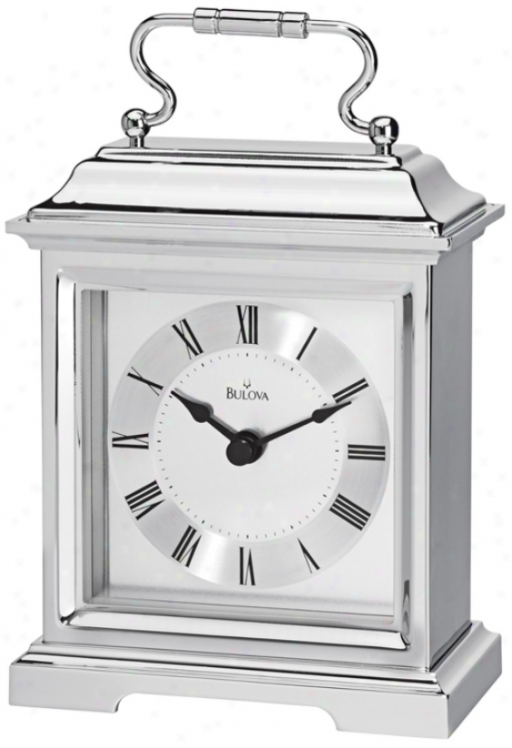 "Bradbury Ii 4 3/4"" Wide Chrome Finish Bulova Desk Clock (v1958)"