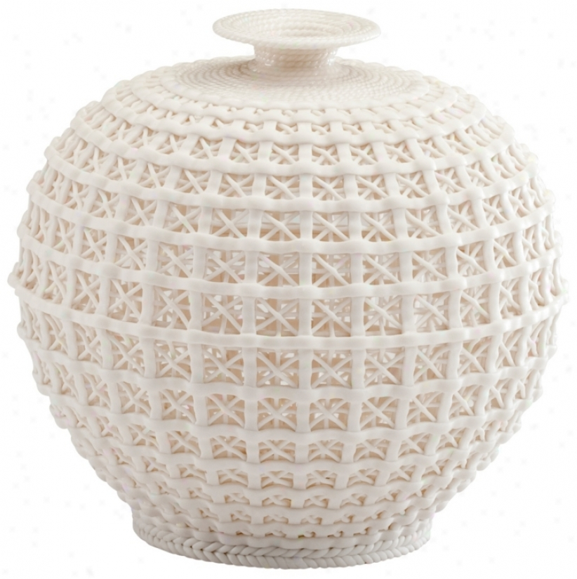 Braided And Trellis Design Matte White Feeble Diana Vase (v1508)