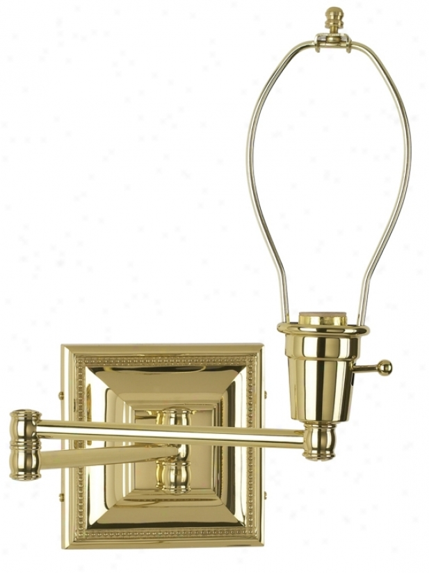 Brass Finish Plug-in Swing Arm Wall Lamp Base (77426)