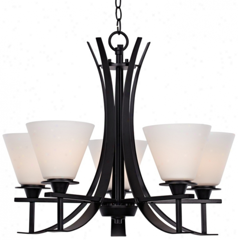 "Bravura Black With Opal Glass 22 3/4"" Wide Chandelier (t9180)"