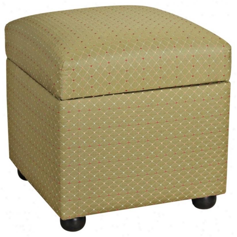 Brianza Olive Green Storage Cube Ottoman (u0711)