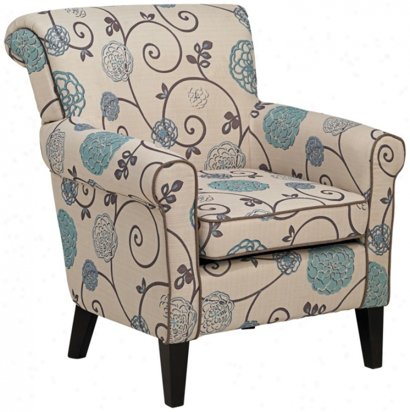 Briar Blue And Taupe Floral Arm Chair (r5557)