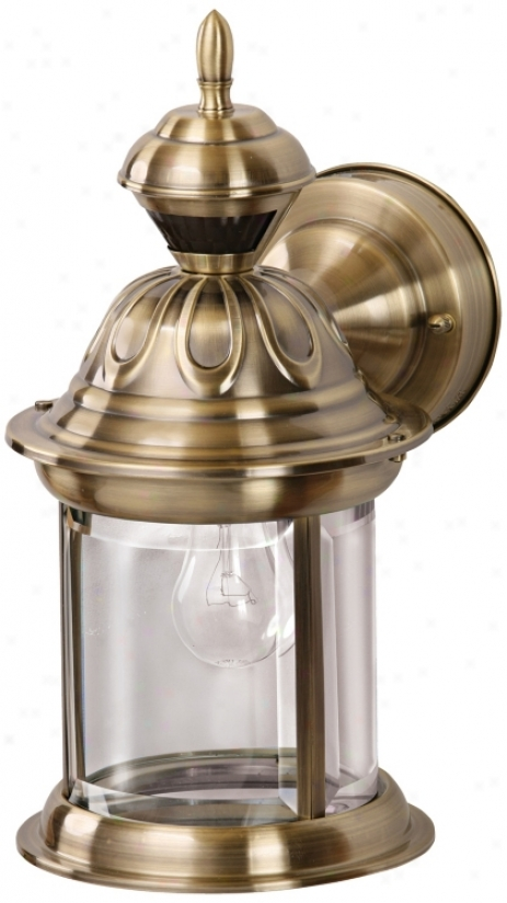 Bridgeport Antique Brass Energy Star® Outdoor Wall Light (h6921)