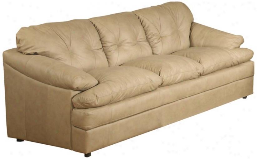 British Isles Olmec Tufted Beige Leather Sofa (w1356)