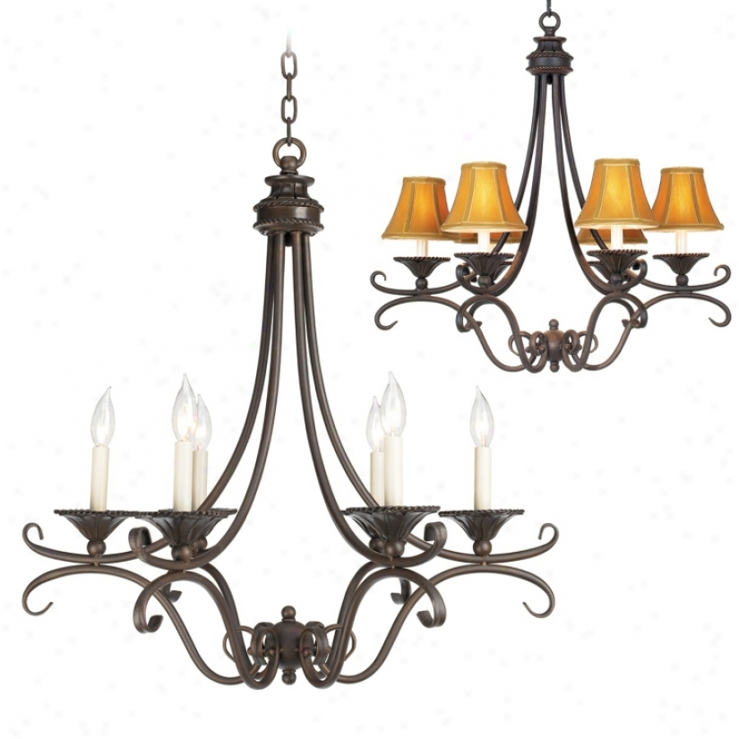 Bronze And Copper Six Light Chandelier (07016)