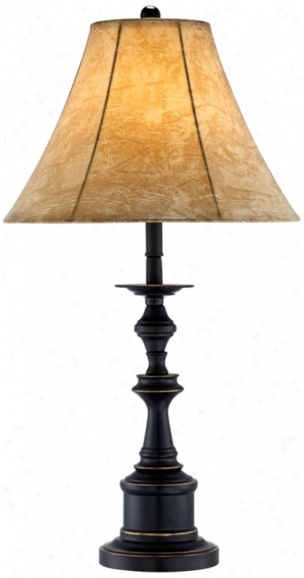 Bronze And Faux Leather Shade Table Lamp (t0347)