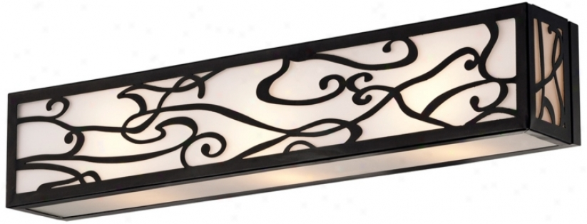 "Bronze And White Glass 24"" Wide 3-light Bath Bar (t8836)"