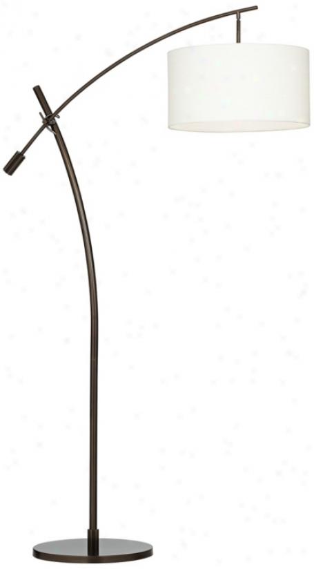 bronze boom arc floor lamp with lienn shade v2695. Black Bedroom Furniture Sets. Home Design Ideas