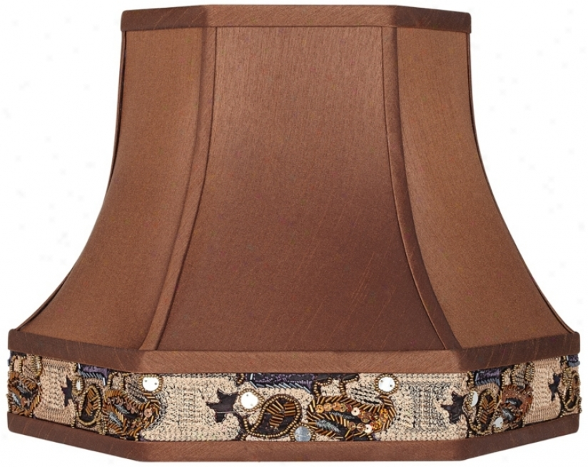 Bronze Faux Silk Hsxagonal Lamp Color 9x15x11.5 (spider) (v3730)