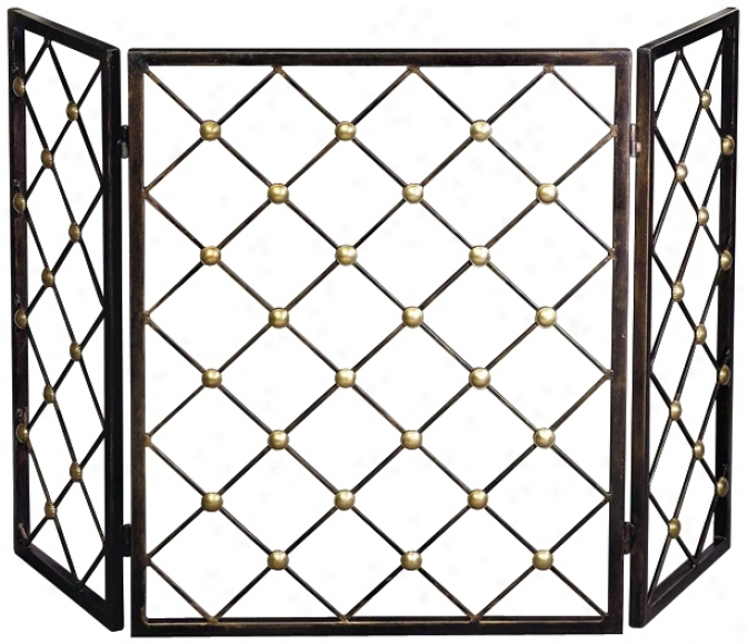 Bronze Finish Iron Button Fire Screen (j5409)