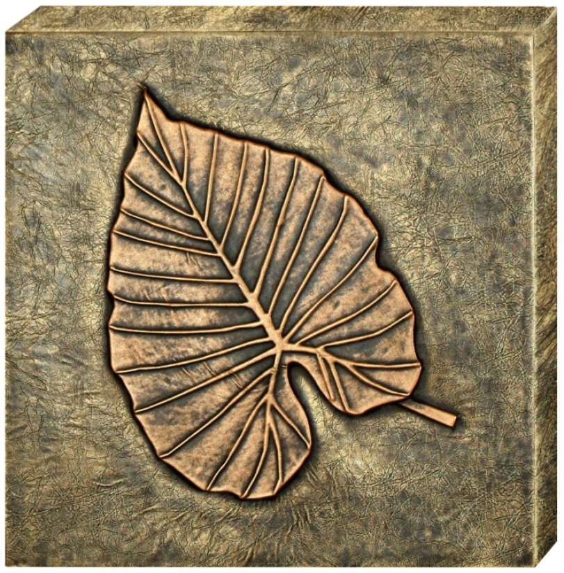 Bronze Finish Leaf Emboossed Faux Leather Ii Wall Art (j7993)