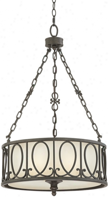 "Bronze Finish Metal Over Shade 19"" WideP endant Chandelier (p0627)"