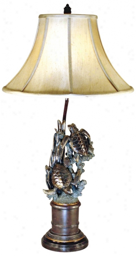 Bronze Finish Sea Turtle Table Lamp (g0598)
