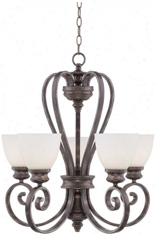 Bronze Finish With Opal Glass 5-light Chandelier (p4375)