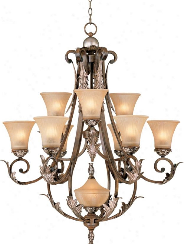 Bronze Gold Finish Acaanthus Leaf Ten Light Chandelier (08254)