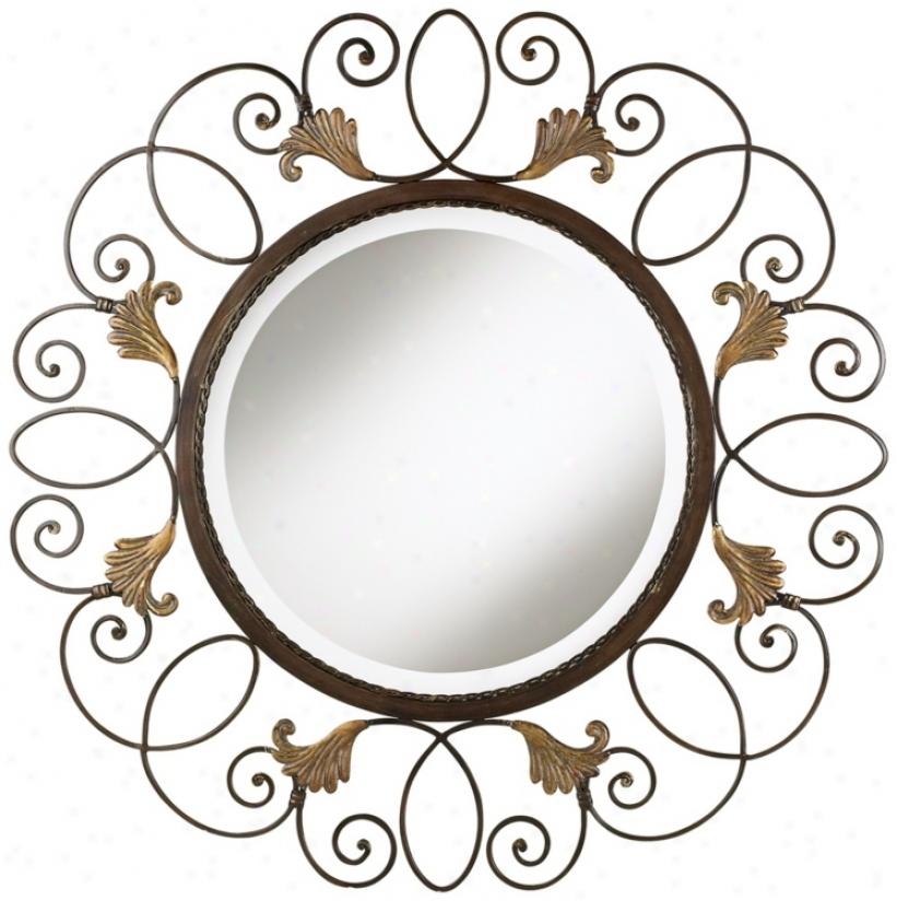 """Bronze Iron Scroll 35"""" Wide Round Mirror (p6919)"""