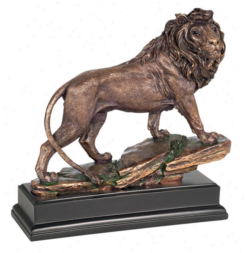 Bronze Lion Scupture On Black Stop (92784)