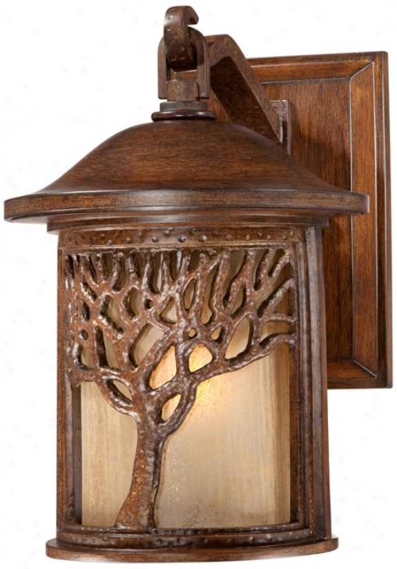 "Bronze Mission Style Tree 12 1/4"" High Outdoor Wall Light (uu9313)"