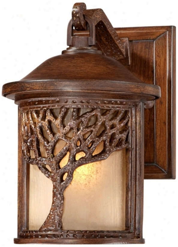 "Bronze Mission Style Tree 9 1/2"" High Outdoor Wall Light (u9311)"