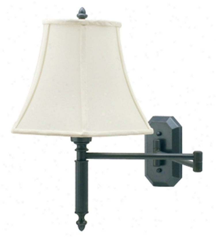 Bronze Octagon Backplate Swing Arm Plug-in Wall Lamp (47328)
