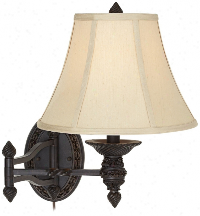 Bronze Oval Plug-in Swing Arm Wall Lamp (u3791)