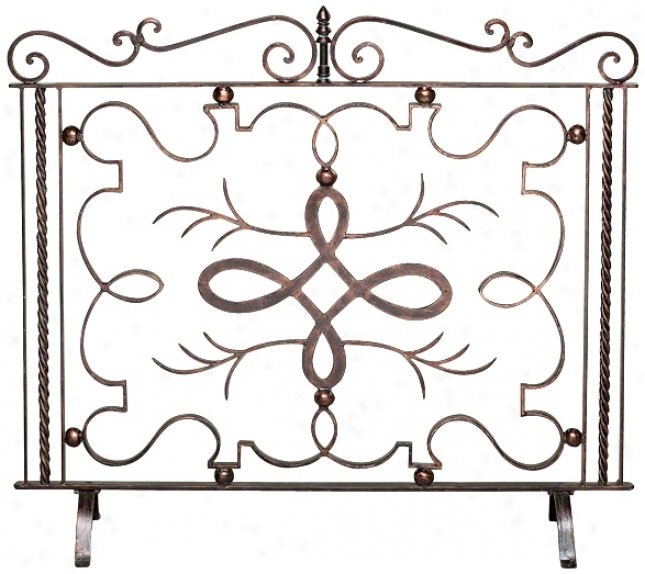 Bronze Verde Finish Iron Fire Screen (j5420)