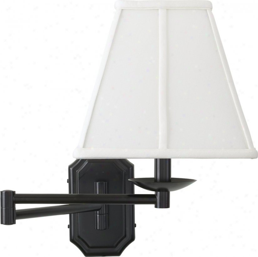 Bronze White Shade Plug-in Swing Arm Wall Lamp (06063-23875)