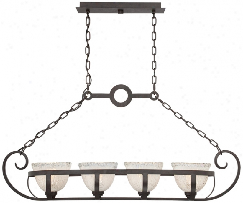 Bronze With Clear Ice Glass 4-light Island Chandelier (m5926)