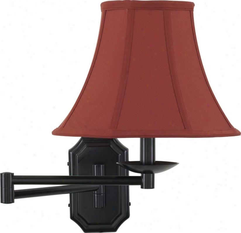 Bronze With Geneva Cinnabar Shade Plug-in Swing Arm Wall Lamp (06063-52201)
